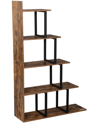 Modern 99 MDF 5 Shelf Standard Bookcase with Metal Frame - outopee