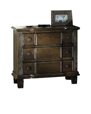 Baudouin Collection 26113 Nightstand with 3 Drawers Metal Hardware Felt Lined Top Drawers Acacia Wood and Oak Veneer Materials in Weathered - acme furniture
