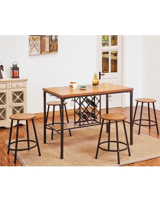Dora Collection 722857 5 PC Bar Table Set with Counter Height Table and 4 Counter Height Stools in Oak - acme furniture