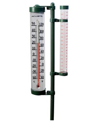 Rain Gauge with Enclosed Tube Thermometer on Swivel Bracket - acurite