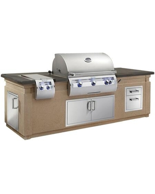 Echelon Diamond Series Outdoor Kitchen Island Package with E790I4EAP Liquid Propane Grill 32814P Sideburner 53802 ouble Drawer 33938S - fire magic
