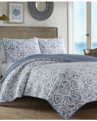 Tommy Bahama Cape Verde Smoke Reversible 3 Piece King Quilt Set Bedding - tommy bahama home