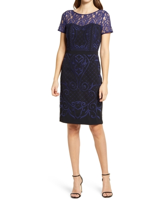 Shani Embroidered Crepe Sheath Dress, Size 4 in Black/Blue at Nordstrom