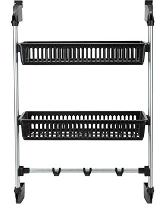 Organize It All Over The Door 2 Basket Hanging Storage With Bottom Bar Towel Hooks - neu home