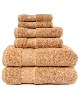 Turkish Cotton Solid 6 Piece Highly Absorbent Plush Towel Set Hazelnut by - superior