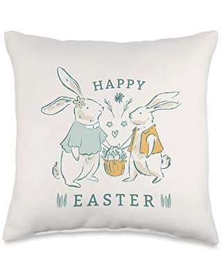 Cute Rabbits with Easter Eggs Throw Pillow 16x16 - cute easter bunny designs for egg hunt