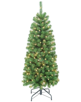 5 ft Pre Lit Pencil Northern Fir Artificial Christmas Tree with 150 Lights - puleo international