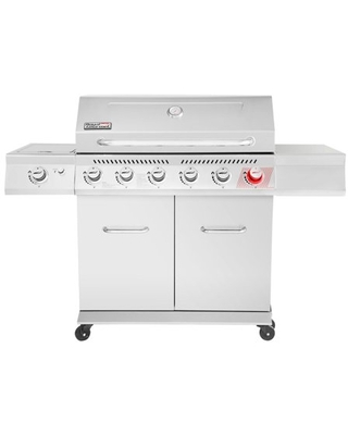 GA6402S Stainless Steel Gas Grill Premier 6 Burner BBQ Grill with Sear Burner and Side Burner 74 000 BTU Cabinet Style Outdoor Party Grill - royal gourmet
