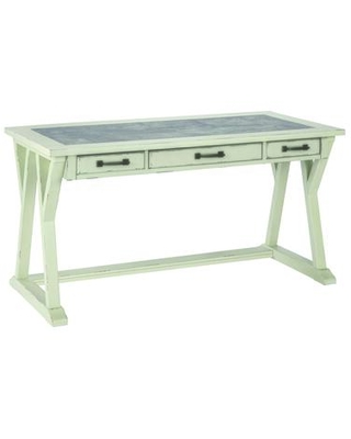 BM190082 Three Drawers Wooden Desk with Faux Cement Top and Trestle Base and - benzara
