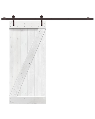 CALHOME Z bar series with hardware kit 30-in x 84-in White 1-panel Solid Core Stained Pine Wood Single Barn Door (Hardware Included)