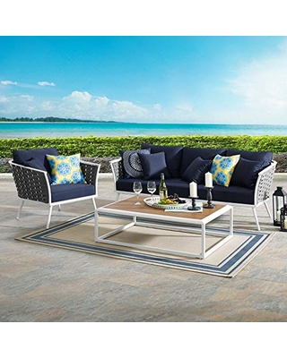 EEI 3166 WHI NAV SET Stance Outdoor Patio Aluminum Sofa Armchair and Coffee Table - modway