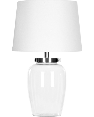 Evan Fillable Glass Table Lamp Clear Includes CFL Light Bulb - safavieh