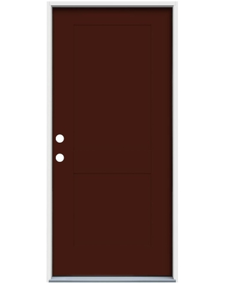 American Building Supply 36-in x 80-in Steel No Glass Right-Hand Inswing Currant Paint Painted Prehung Single Front Door Insulating Core ENERGY STAR