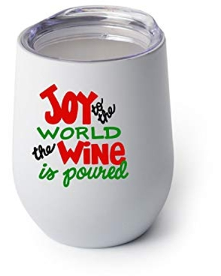 Joy to the World the Wine is Poured Wine Glass Christmas Wine Glass Christmas Gift Stocking Stuffer - southern adeline co