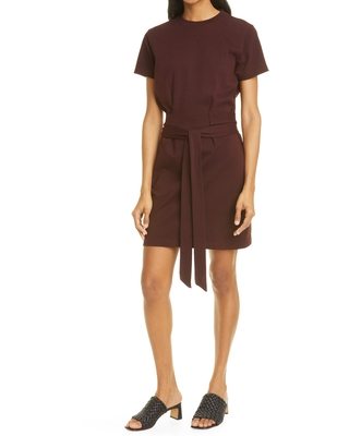 Tie Waist Short Sleeve Cotton Dress Size Small in Oxblood at Nordstrom - vince