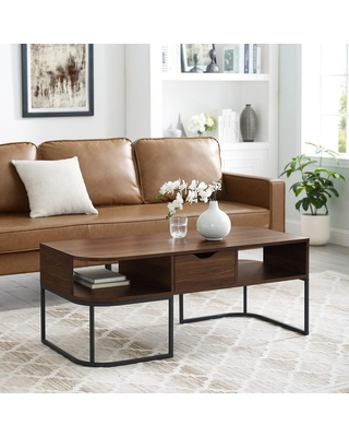 44 in Dark Walnut Large Rectangle Wood Coffee Table with Drawers - welwick designs