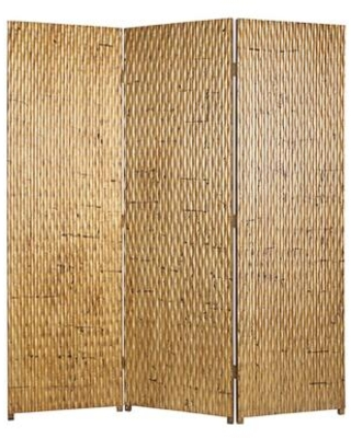 BM26484 3 Panel Foldable Room Divider with Patterned Wood Panelling - benzara