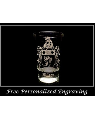 Wilson English Family Coat of Arms Shot Glass Free Personalized Engraving - lyoncraft