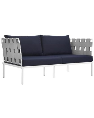 Harmony Collection EEI 2603 WHI NAV Outdoor Patio Loveseat with Aluminum Frame Dense Foam Padding and All Weather Canvas Fabric Cushions - modway