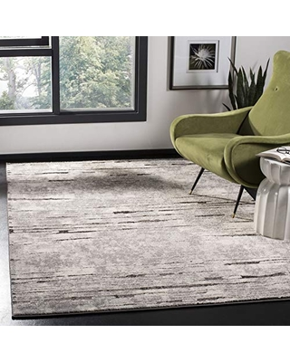 SAFAVIEH Spirit Collection SPR124F Modern Abstract Non-Shedding Living Room Bedroom Dining Home Office Area Rug, 8' x 10', Grey / Dark Grey