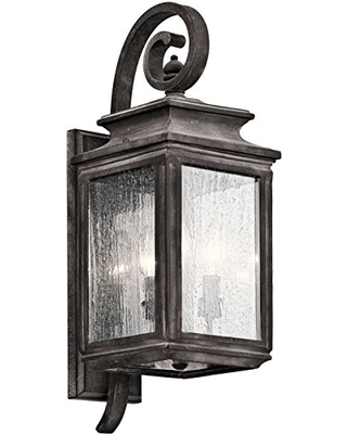 Wiscombe Park 3 Light Outdoor Wall Light with Clear Seeded Glass - kichler
