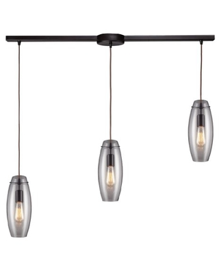 60044 3L Menlow Park 3 Light Linear Pendant With Clear Blown Glass Shade - elk