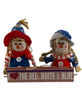 AGD Patriotic Decor Stars Stripes Forever and Scarecrows 3pc Set - agape gifts designs