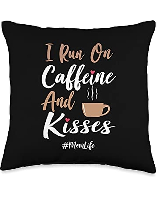 coffee Mom Mother's Day Gift Co I Run on Caffeine and Kisses Vintage Funny Mom Life Throw Pillow 16x16 - coffee mom mother's day gift co.