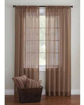 Better Homes and Gardens Elise Woven Stripe Sheer Window Panel Collection - better homes & gardens