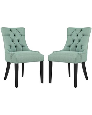 Regent Collection EEI 2743 LAG SET Dining Chairs with Rubberwood Tapered Legs Nailhead Trim Non Marking Foot Caps Solid Wood Frame - modway