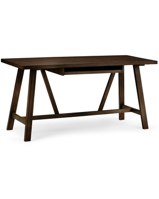 60 in Rectangular Tobacco Writing Desk with Solid Wood Material - brooklyn + max