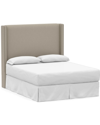 Harper Upholstered Non Tufted Tall Headboard with Bronze Nailheads King Performance Brushed Basketweave Sand - undefined