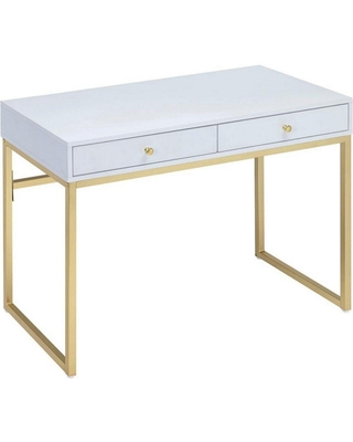 19 in W and 2 Drawer Wooden Writing Desk with Sled Base - benjara