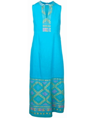 Women's Recycled Cotton Split Neck Sleeveless Maxi Linen Dress With Embroidered Panels Tropical Sea Medium - haris cotton