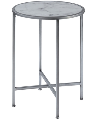 Coast Faux Marble Round End Table Faux Marble Silver - breighton home
