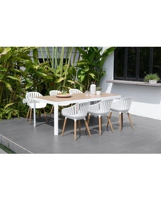 Champs Outdoor Wood Patio Dining Set - amazonia