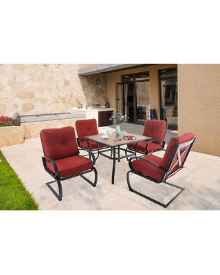 5pc Patio Dining Set with Square Faux Wood Table with Umbrella Hole & 4 Metal Spring Motion Chairs - captiva designs