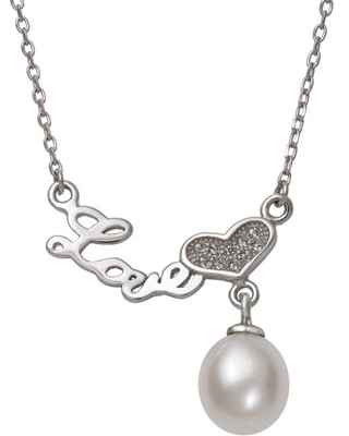 """Cultured Freshwater Pearl and Sterling Silver """"Love"""" Cz Heart Necklace - pearlzzz"""