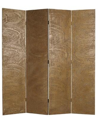 BM26480 Foldable 4 Panel Canvas Room Divider with Swirl Details - benzara