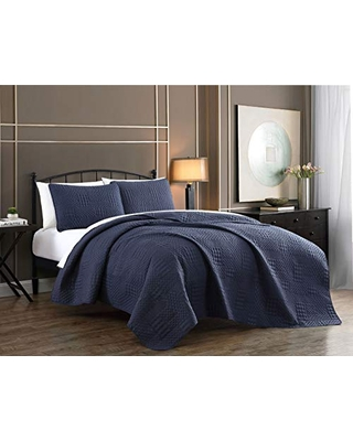 Yardley Quilt Set Queen Lightweight Microfiber Bedspread Embossed Design Quilted Coverlet with Matching Pillow Shams All Season Bedding Basics - addison home