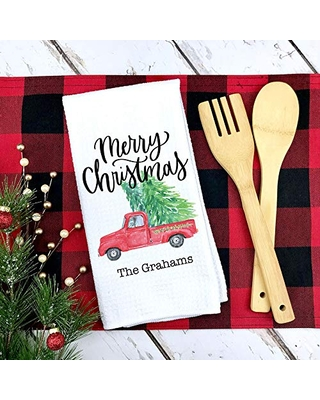 Custom Christmas Kitchen Towel Personalized Holiday Dish Towel Housewarming Gift Personalized Christmas Gift Women Personalized Dish Towel Christmas Kitchen Towel - canary road