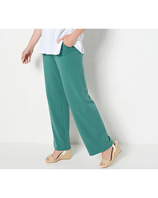 Denim & Co Active French Terry Pull On Wide Leg Pants - denim & co.