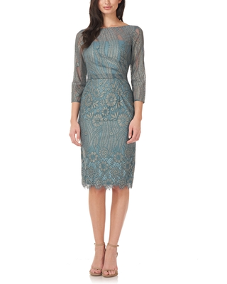 JS Collections Metallic Floral Illusion Lace Pencil Cocktail Dress, Size 10 in Sage Gold at Nordstrom