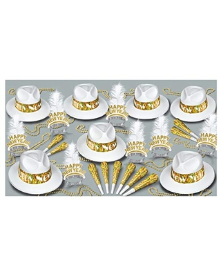 Beistle LA Swing Assortment for 50 People New Year's Eve Party Supplies Photo Booth Props – Hats, Tiaras, Noisemakers, Necklaces, One Size, White/Gold