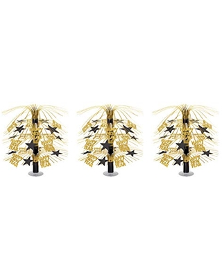 """Beistle 3 Piece Happy New Year Cascade Centerpieces Party Table Decorations, 18"""", Black/Gold"""