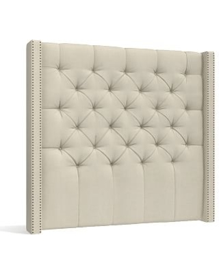 Harper Upholstered Tufted Tall Headboard with Bronze Nailheads Queen Premium Performance Basketweave Oatmeal - undefined