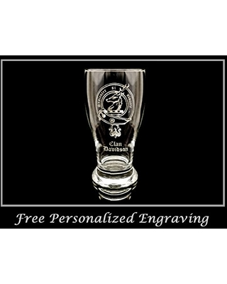 Clan Davidson Scottish Crest Pint Glass Free Personalized Engraving Family Crest Pub Glass Beer Glass Custom Beer Glass - lyoncraft