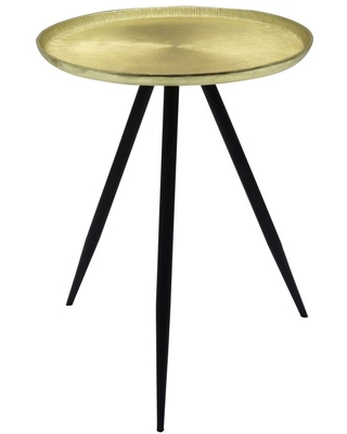 Jeffrey 375 and Round Metal Top End Table & - manor brook