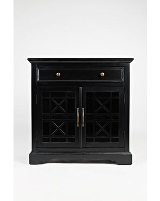BM184046 Craftman Series 32 Inch Wooden Accent Cabinet with Fretwork Glass Front - benzara