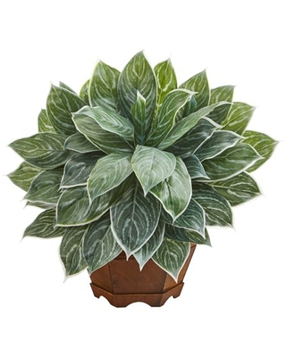 18in Silver Aglaonema Artificial Plant in Decorative Planter Real Touch - nearly natural